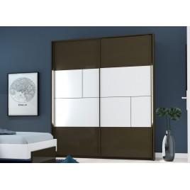 Armoire 2 portes coulissantes blanc et gris anthracite laqué