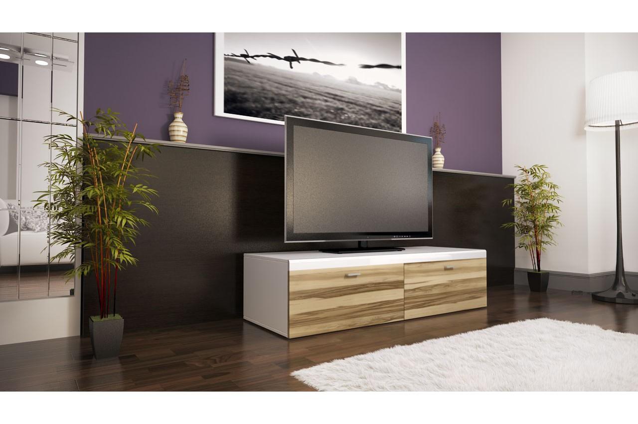 Meuble tv design 2 portes laqu coloris au choix cbc for Meuble bas design laque