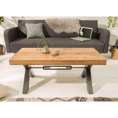 Table basse rectangulaire 110 cm chêne sauvage huilé et métal anthracite
