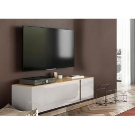Meuble tv moderne 140 cm verre cachemire et chêne