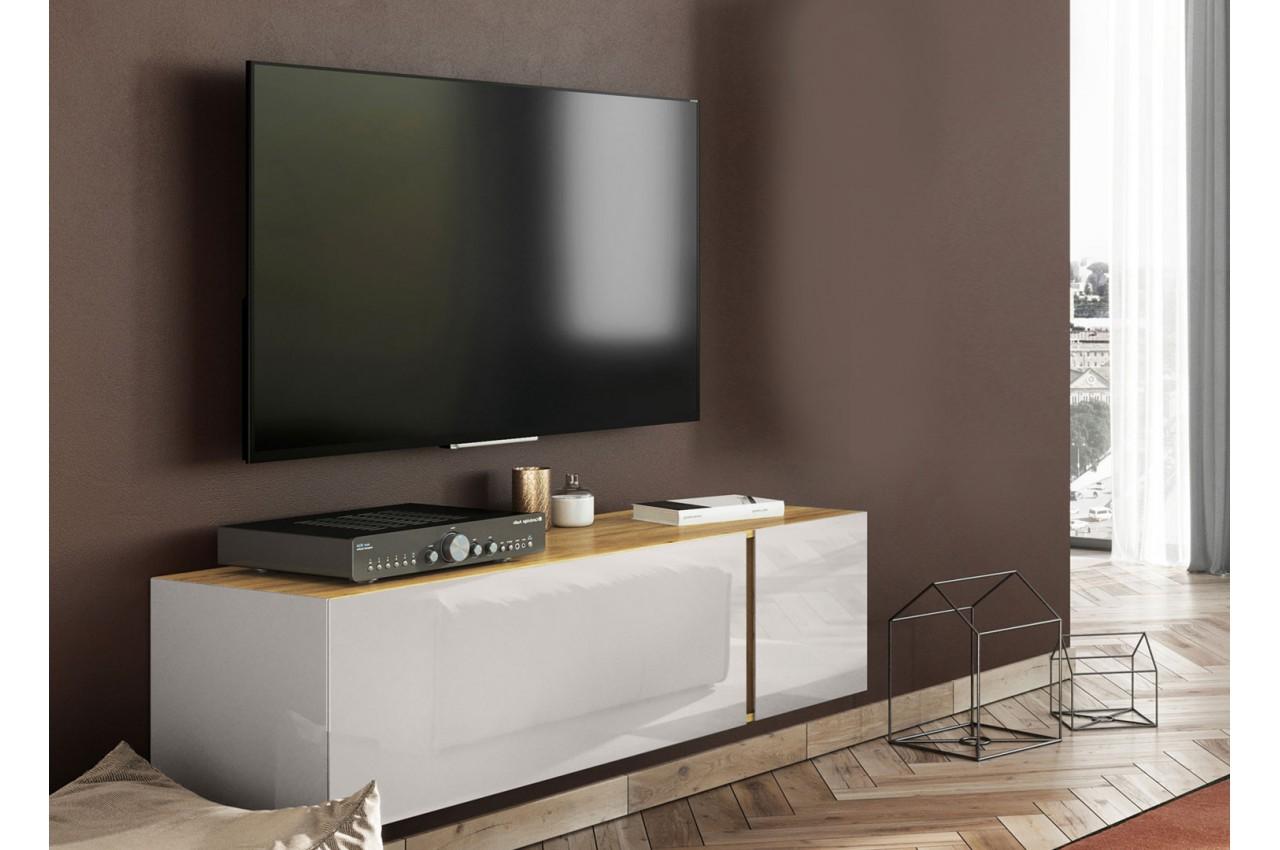 meuble tv moderne 140 cm verre