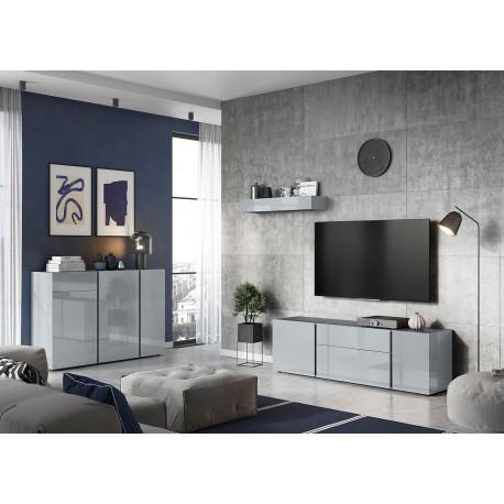 Meubles salon design verre gris