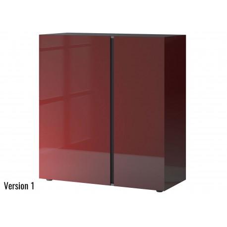 Commode rouge rubis et graphite 2 portes et 1 tiroir