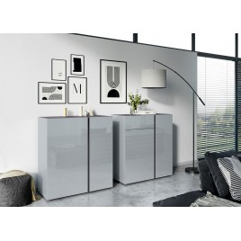 Commode verre gris et graphite - 2 versions