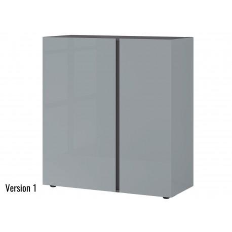 Commode verre gris 2 portes et 1 tiroir