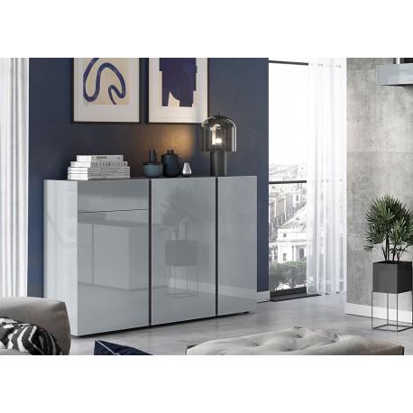 Buffet design verre gris 3 portes et 1 tiroir