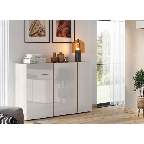 Buffet design verre cachemire 3 portes et 1 tiroir