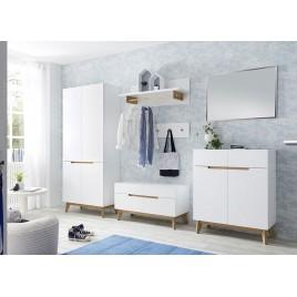 Meuble vestiaire entrée blanc et chêne