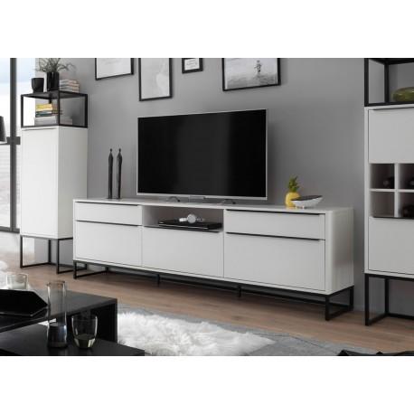 Meuble TV design blanc laqué mat et métal noir 2m15