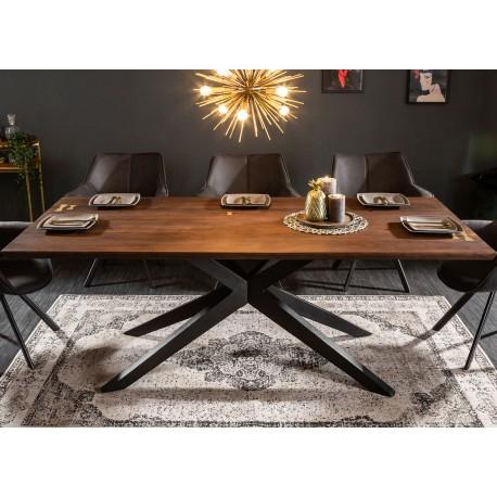 Table à manger bois massif acacia 2m pied métal