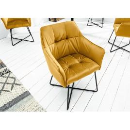Chaise velours jaune avec accoudoirs et pieds métal noir