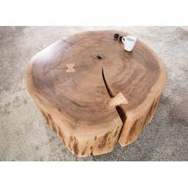Table basse appoint Ø 60 cm bois massif acacia