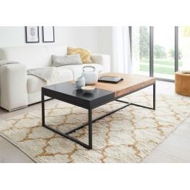 Table basse chêne massif et métal avec plateau intégré