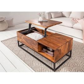 Table basse rectangulaire en bois avec plateau relevable