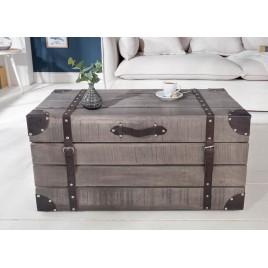 Table basse coffre bois massif manguier gris 82 cm