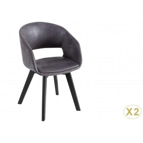 Chaise avec accoudoirs gris vintage