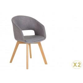 Chaise tissu gris avec accoudoirs