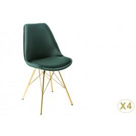 Chaise design velours vert et pieds métal doré