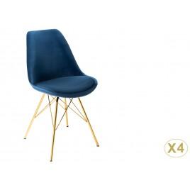 Chaise design velours bleu et pieds métal doré