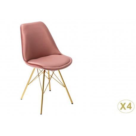 Chaise design velours rose et pieds métal doré