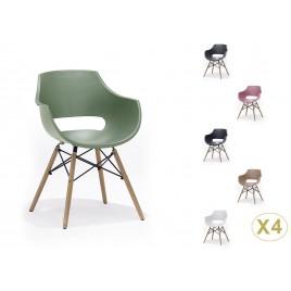 Lot de 4 chaises style rétro coque pvc et pieds hêtre