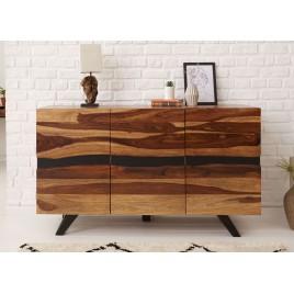 Buffet bois massif sesham et pieds métal 150 cm