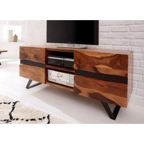 Meuble tv bois massif sesham et pieds métal 160 cm
