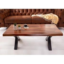 Table basse rectangulaire bois massif et métal 1m10