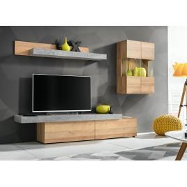 Meuble tv design bois et béton 2m50