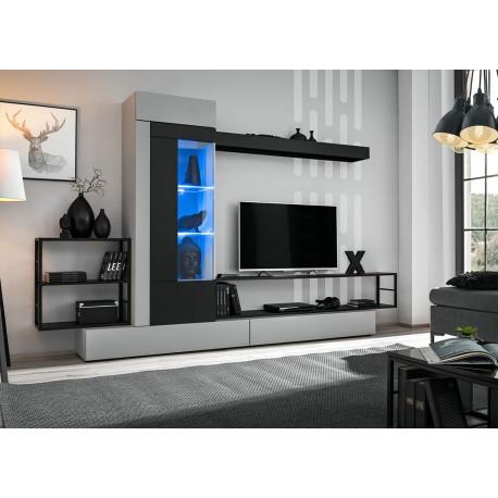 Meuble tv gris et noir 3m à led