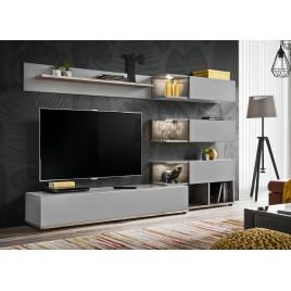 Meuble TV design mural gris et bois