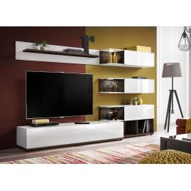 Meuble TV design mural blanc et marron foncé