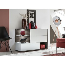 Meuble buffet design blanc et marron