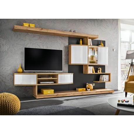 Ensemble meuble TV mural blanc et chêne