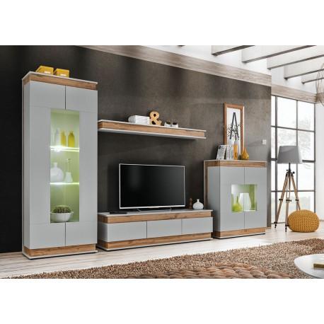 Ensemble meuble TV mural gris perle et chêne