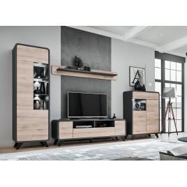 Meuble tv scandinave moderne chêne et anthracite