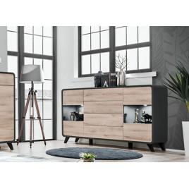 Meuble buffet moderne 4 portes et 4 tiroirs à led