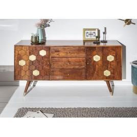 Buffet en bois massif d'acacia brun et or à motifs mosaïque