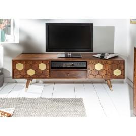 Meuble tv bois massif d'acacia 2 portes et 1 tiroir 140 cm