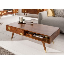Table basse rectangulaire bois massif 2 tiroirs 117 cm