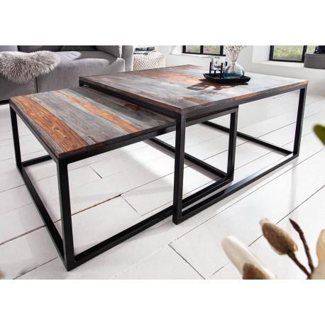 Lot de 2 tables basses emboîtables carrées