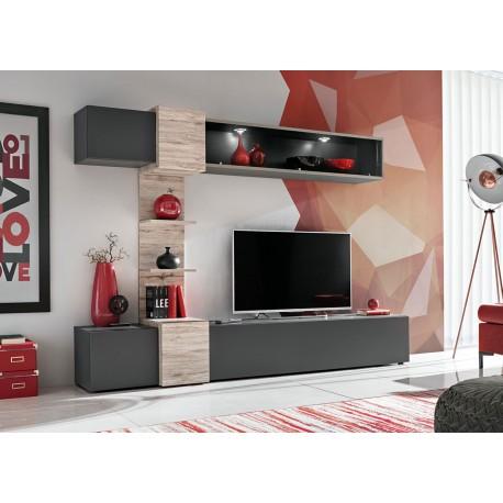 Meuble tv gris anthracite et bois à led