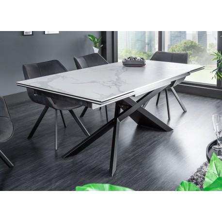 Table à manger extensible céramique 180-260 cm aspect marbre