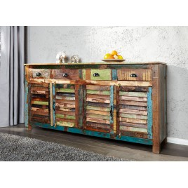 Buffet en bois recyclé coloré 1m60
