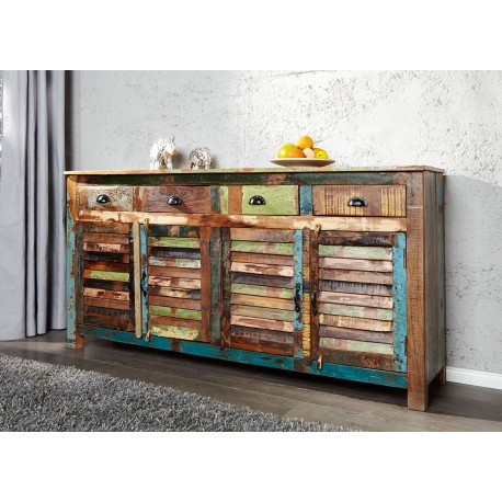 Buffet En Bois Recycle Colore 1m60 Cbc Meubles