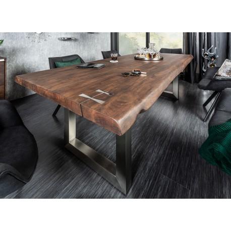 Table manger bois massif acacia 2m40 et pied acier - Table de salle a manger en bois ...