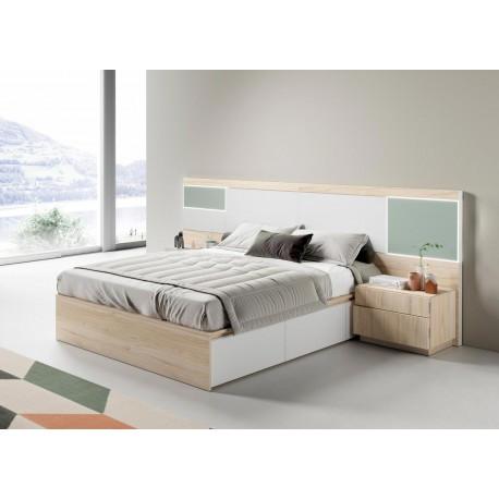 Ensemble lit adulte 160x200 à led et tiroirs de lit