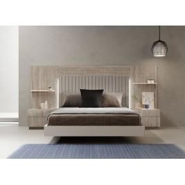 Lit 2 places avec tête de lit et chevets en bois