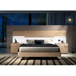 Lit design 160x200 cm led couleur teck et blanc