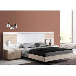 Lit double design 160x200 cm blanc et bois à led